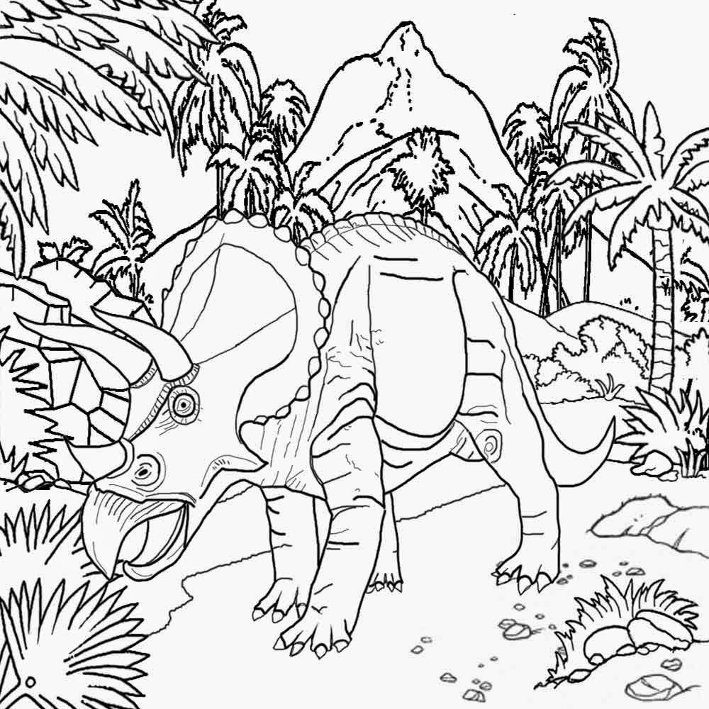Volcano With Dinosaur Coloring Pages