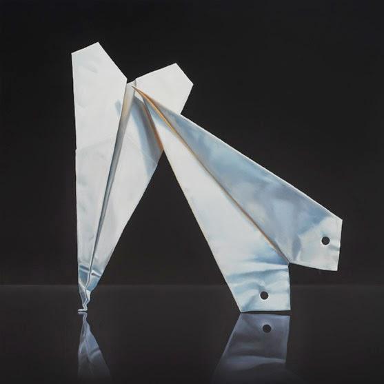 paper airplane painting, still life, original art jeanne vadeboncoeur