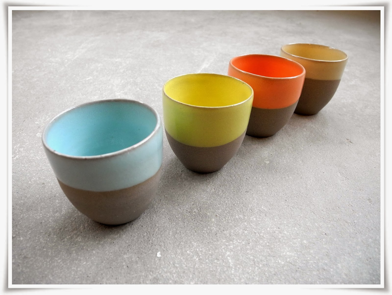 colorful espresso cups no ear handthrown