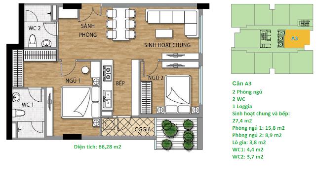 Căn hộ A3 diện tích 66,28 m2 tầng 3 Valencia Garden