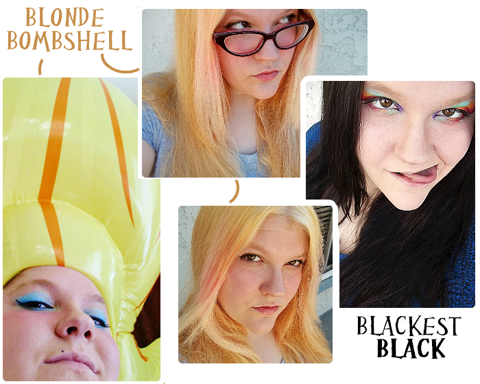 Blonde for lightening and color, Black for a color reset