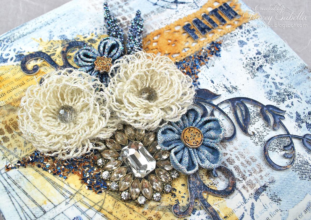 Donna salazar designs cha faith art journal with wispy for Burlap flower template