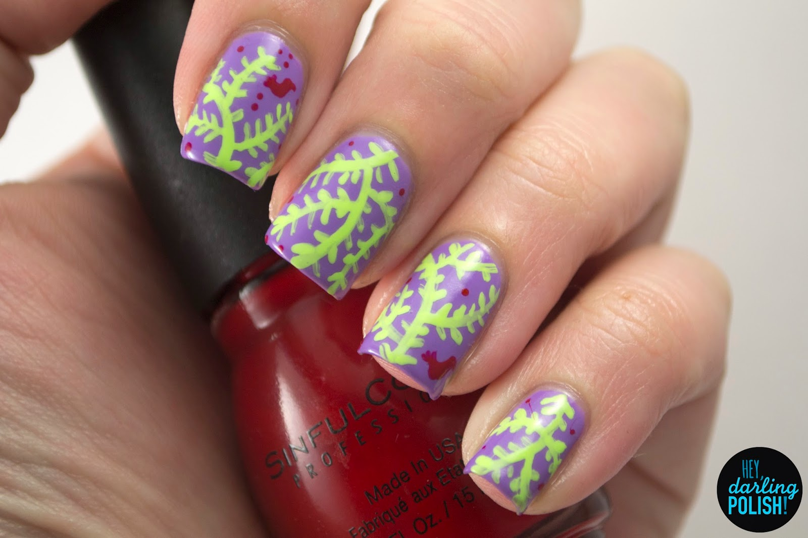 nails, nail art, nail polish, polish, pattern, hey darling polish, tri polish challenge, tpc, purple, green, red, birds