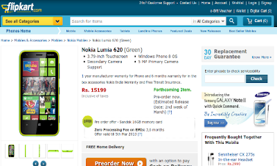 Nokia Lumia 620 prices in India