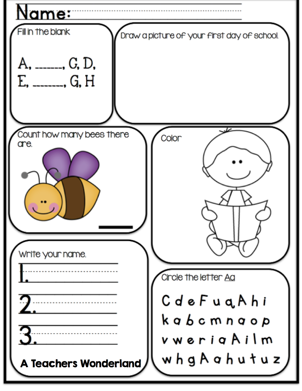 A Teachers Wonderland Kindergarten Morning Work – Morning Worksheets for Kindergarten