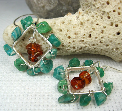 Russian Amazonite and Amber Earrings