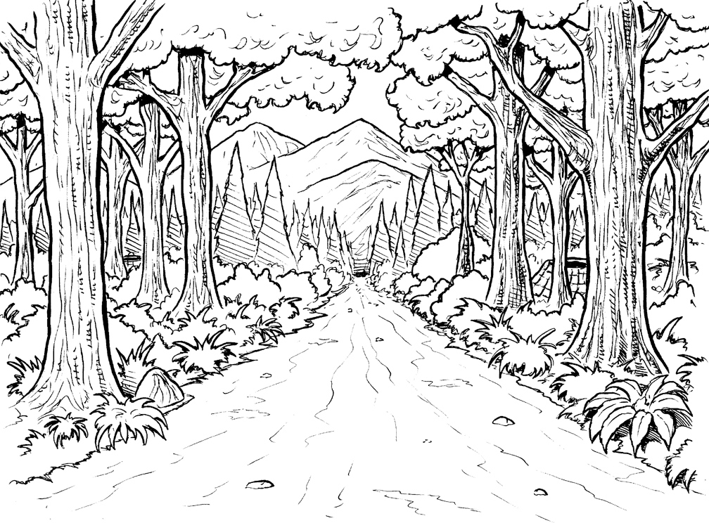 jungle background coloring pages - photo#1
