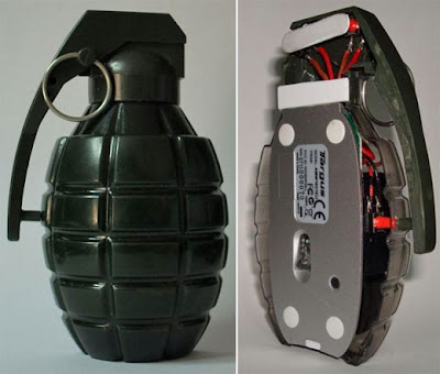 Computer mouses that look like weapons grenade shaped