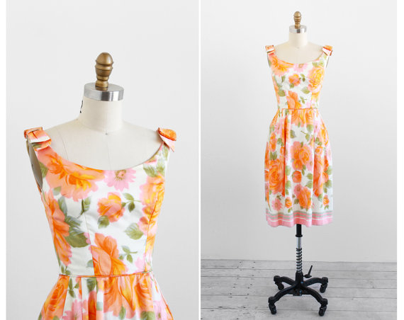 Rococo Vintage 1960s pink floral dress