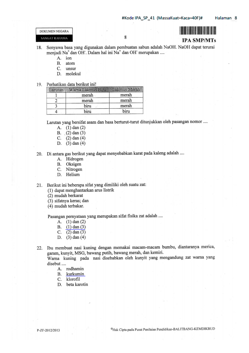 Soal Dan Pembahasan Un Ipa Paket 41 Kelas 9 Smp Ta 2012 2013 Kumpulan Soal Dan Prediksi Ujian