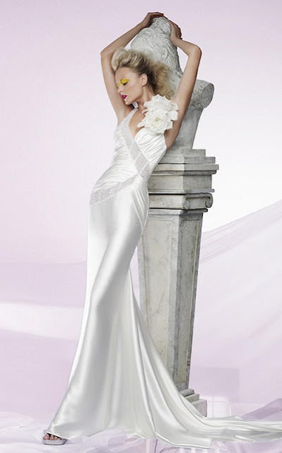 Mermaid V-neck Spaghetti Sweep Train Wedding Dress Bridal Gown