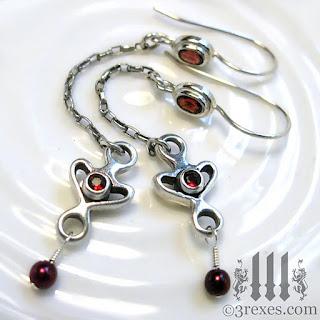 silver heart earrings garnet