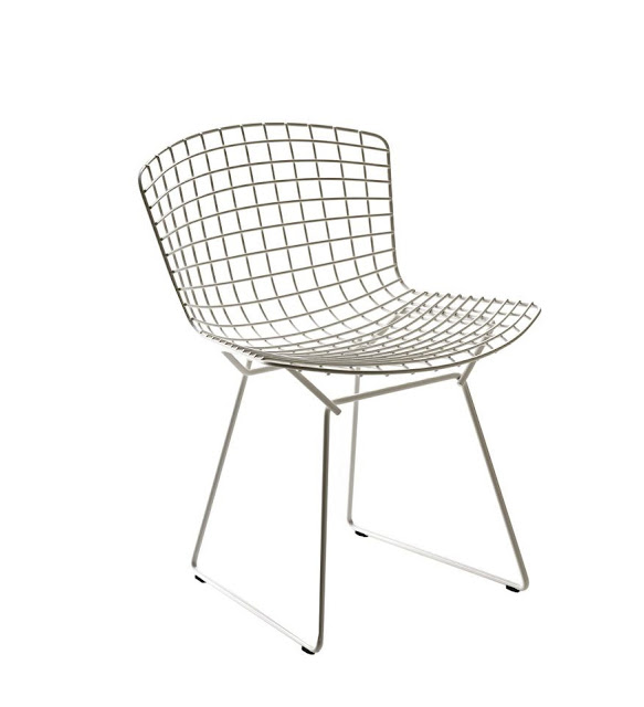 henry bertoia wire side chair white mid century modern