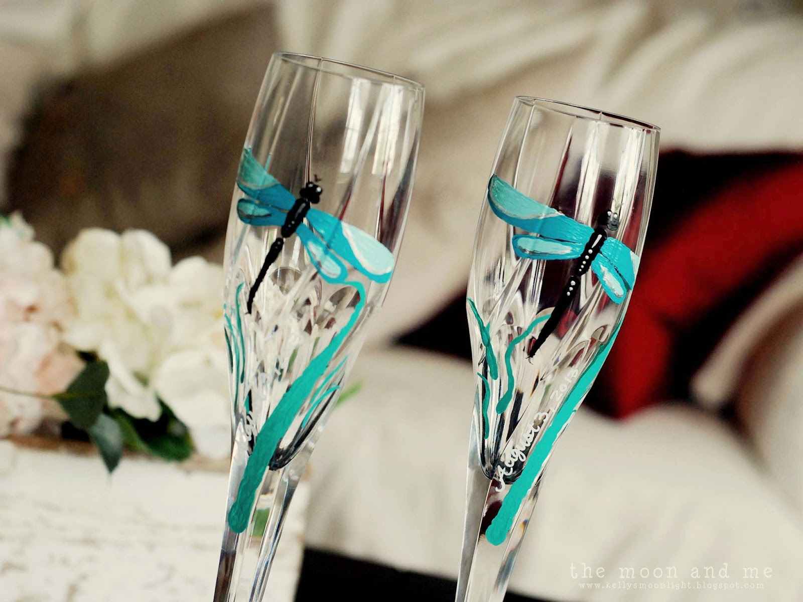 The Moon and Me  Custom Painted Champagne Flutes