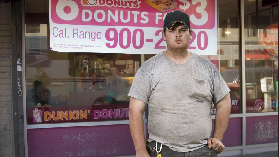 Nasty American slob Jason Percy loves his Dunkin Donuts shitcakes and coffee