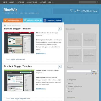 BlueWiz blogger template. free blogspot template blue background