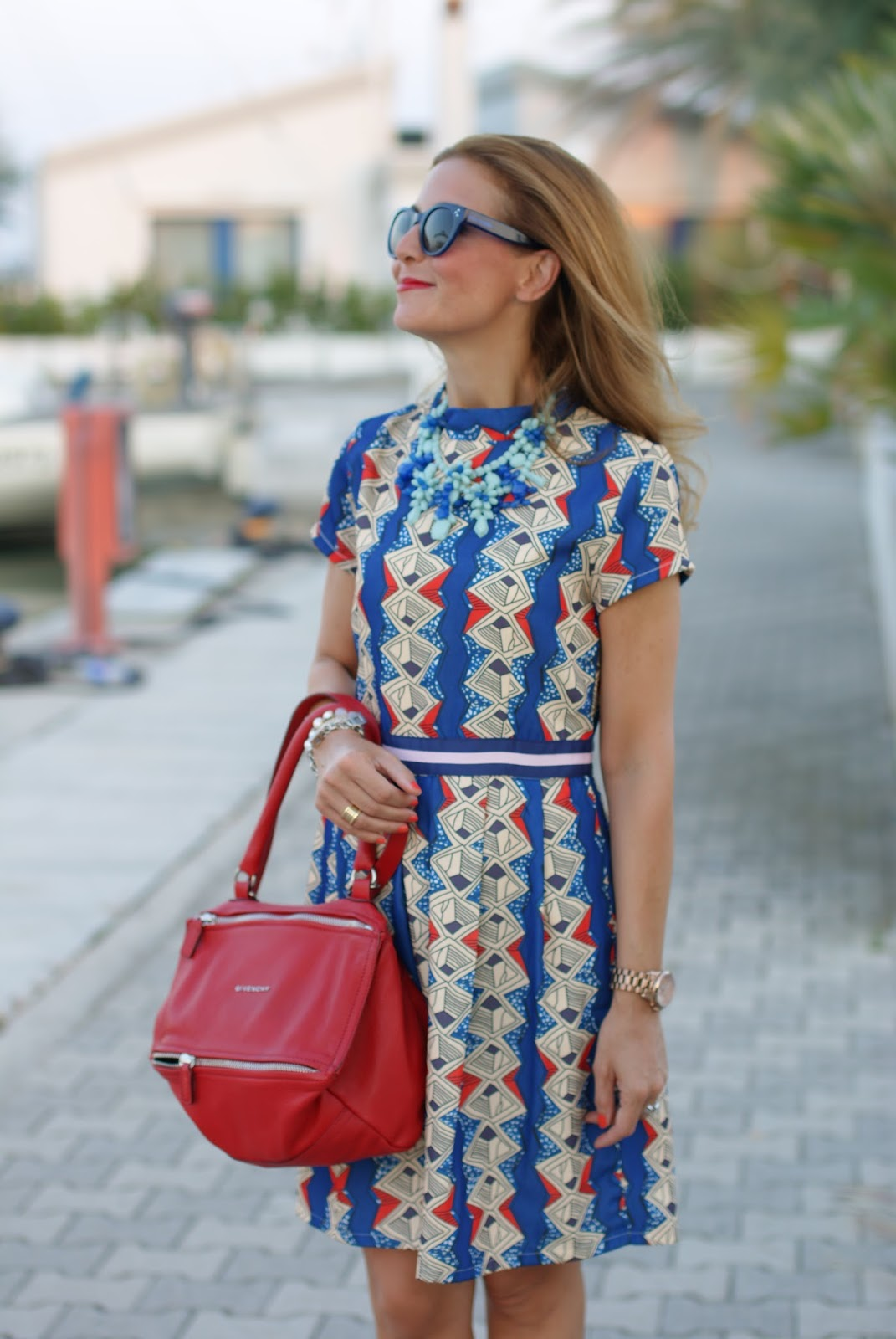 Zaful argyle print short dress, Givenchy Pandora bag in red and Nando Muzi suede slingbacks on Fashion and Cookies fashion blog, fashion blogger style