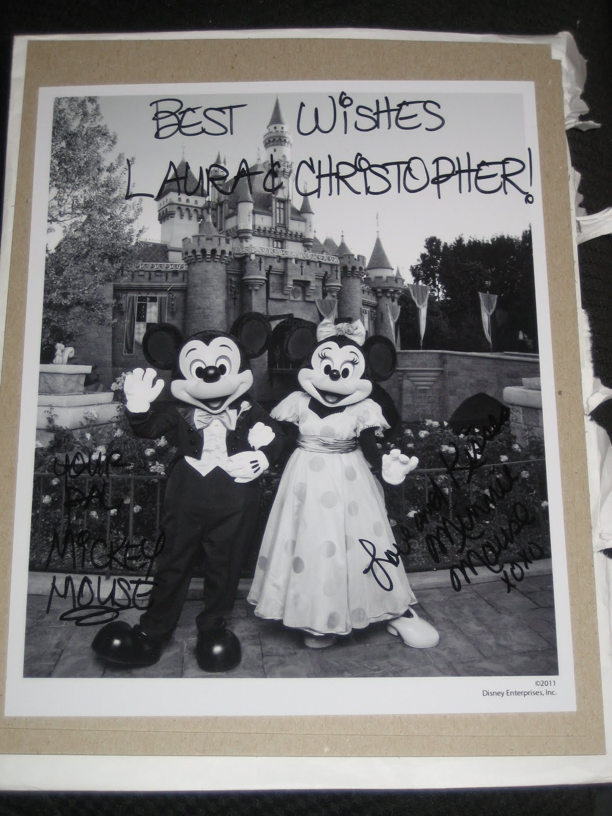 Saying i do mickey and minnie rsvp best wishes laura and christopher your pal mickey mouse and love and kisses minnie mouse junglespirit Gallery
