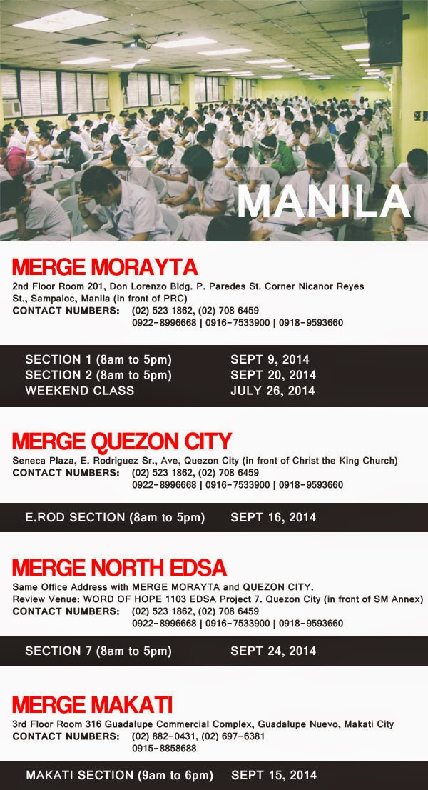 Merge Manila Review Schedule for Nursing Board Exam November 2014 NLE