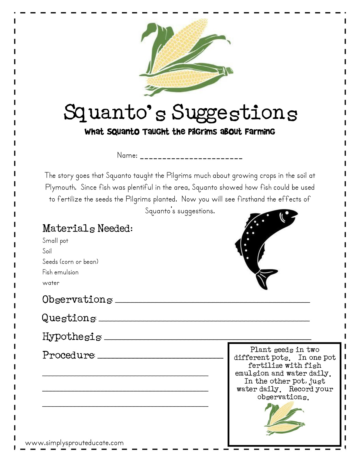 Lil sprouts book club squanto 39 s suggestion s for Fish emulsion home depot