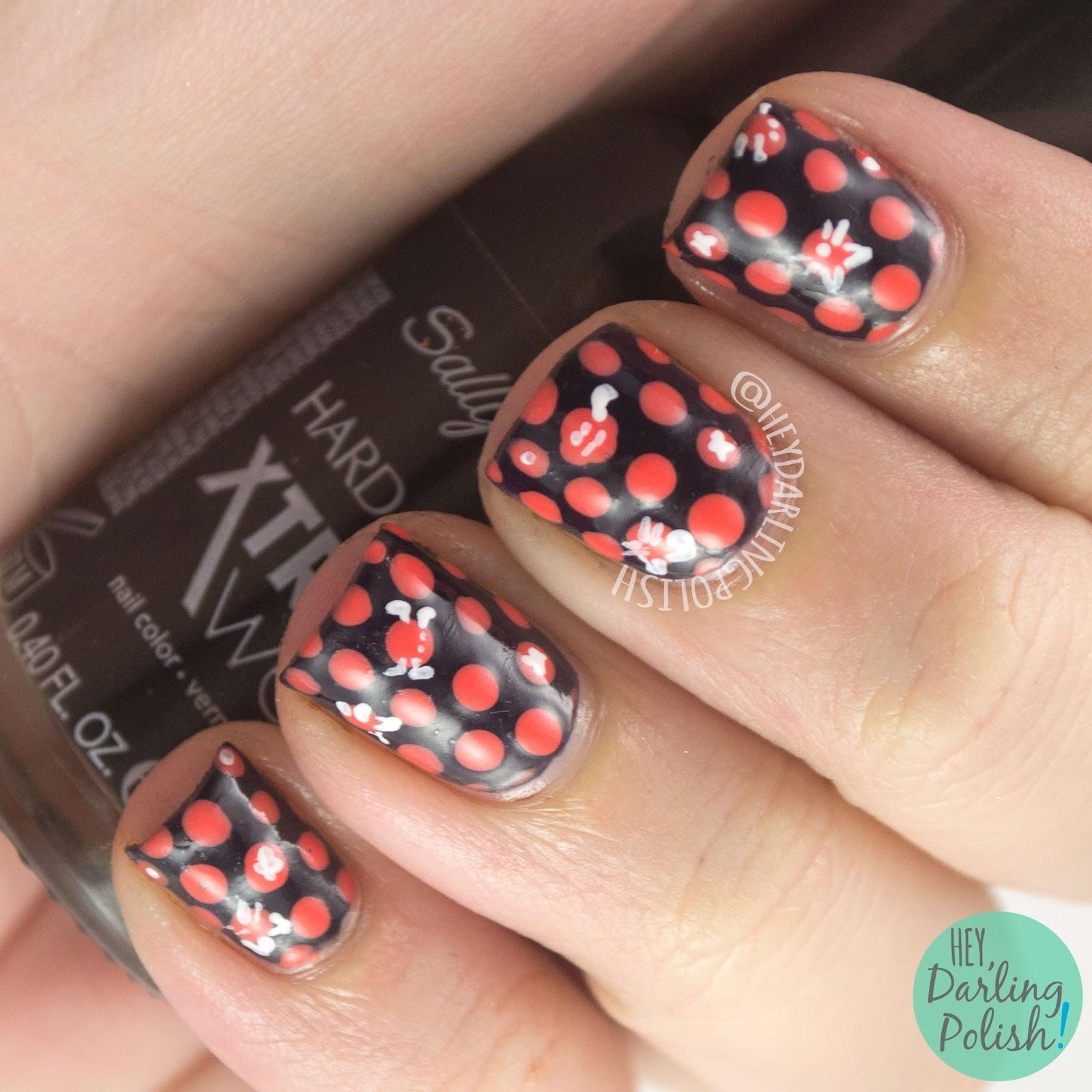 nails, nail art, nail polish, polka dots, dots, orange, black, hey darling polish, 31dc2014, 31 day challenge,