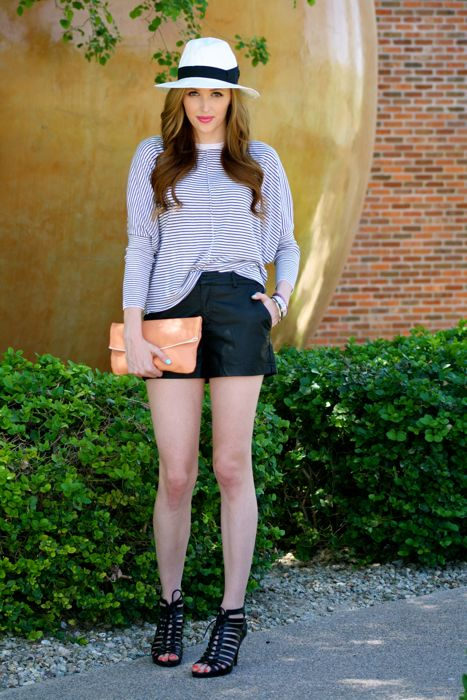 Street style- Golden Divine Blog- Ashley Murphy- Panama Hat- Striped Sweater- Stripes- Caged Heels- Vintage Clutch-Faux leather shorts
