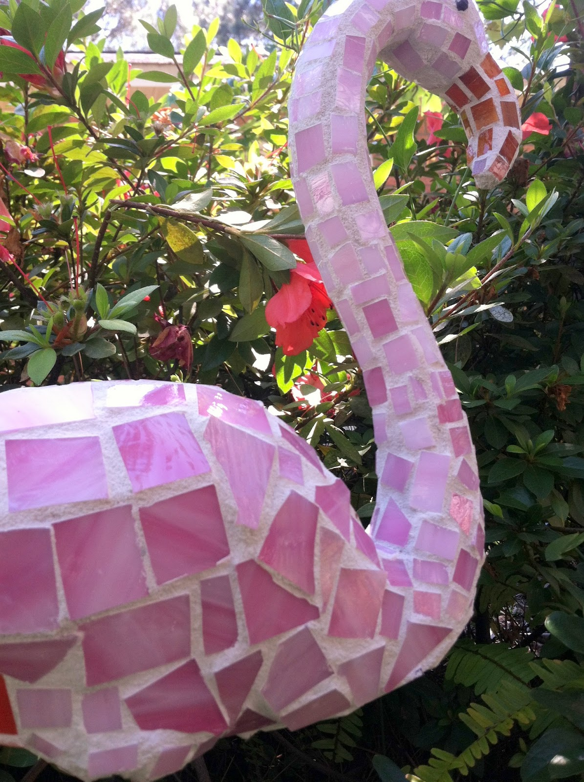 Mosaic Ideas For The Garden Flamingo mosaic garden art made from plastic pink dollar store pink flamingo mosaic workwithnaturefo