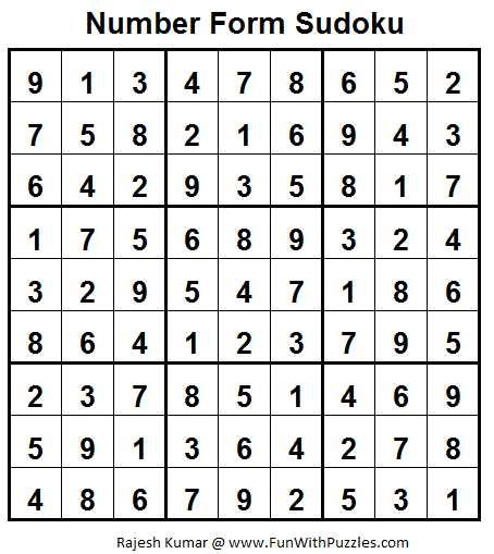 Number Forms Sudoku (Fun With Sudoku #27) Solution