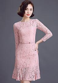 Three Quarter Sleeve Soft Pink OL Lace Flare Hem Dress