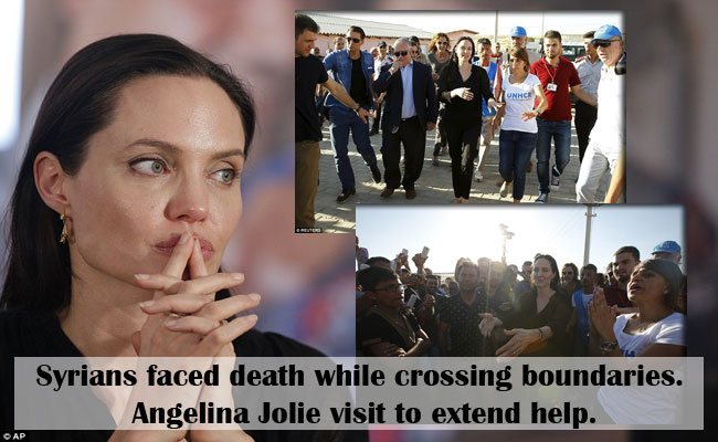 Syrians faced death while crossing boundaries. Angelina Jolie visit to extend help.