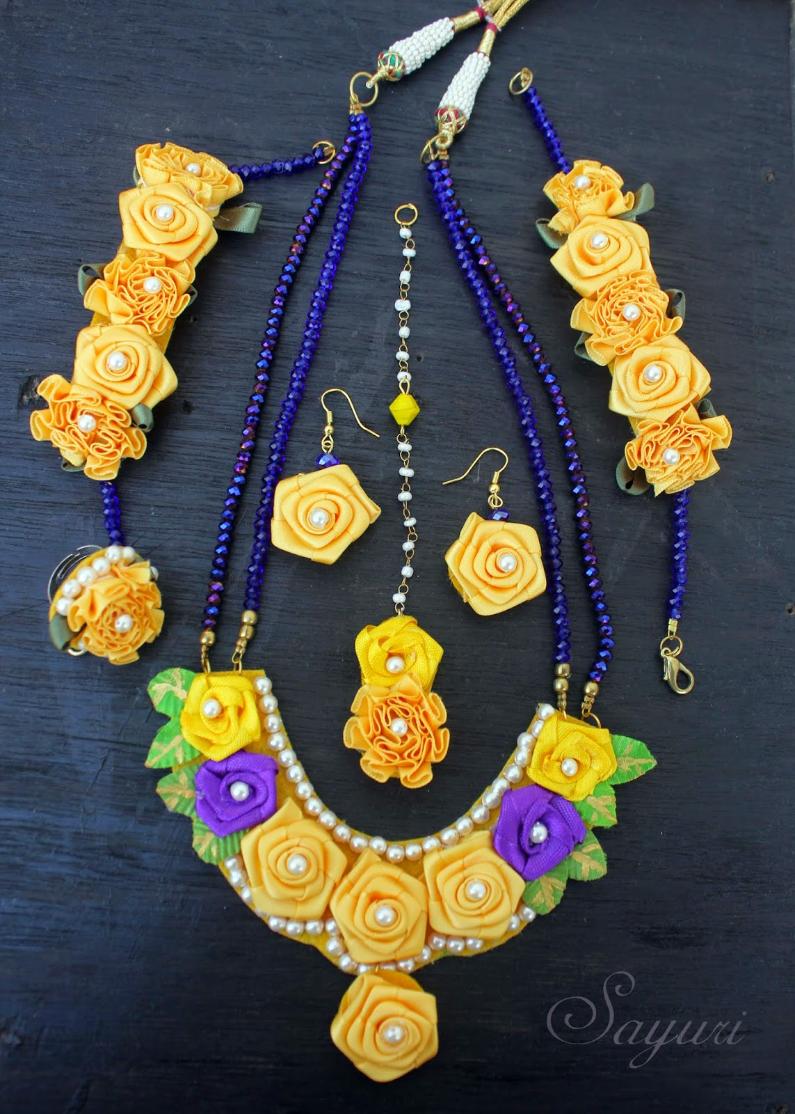 Ribbon flower jewelry for Haldi function