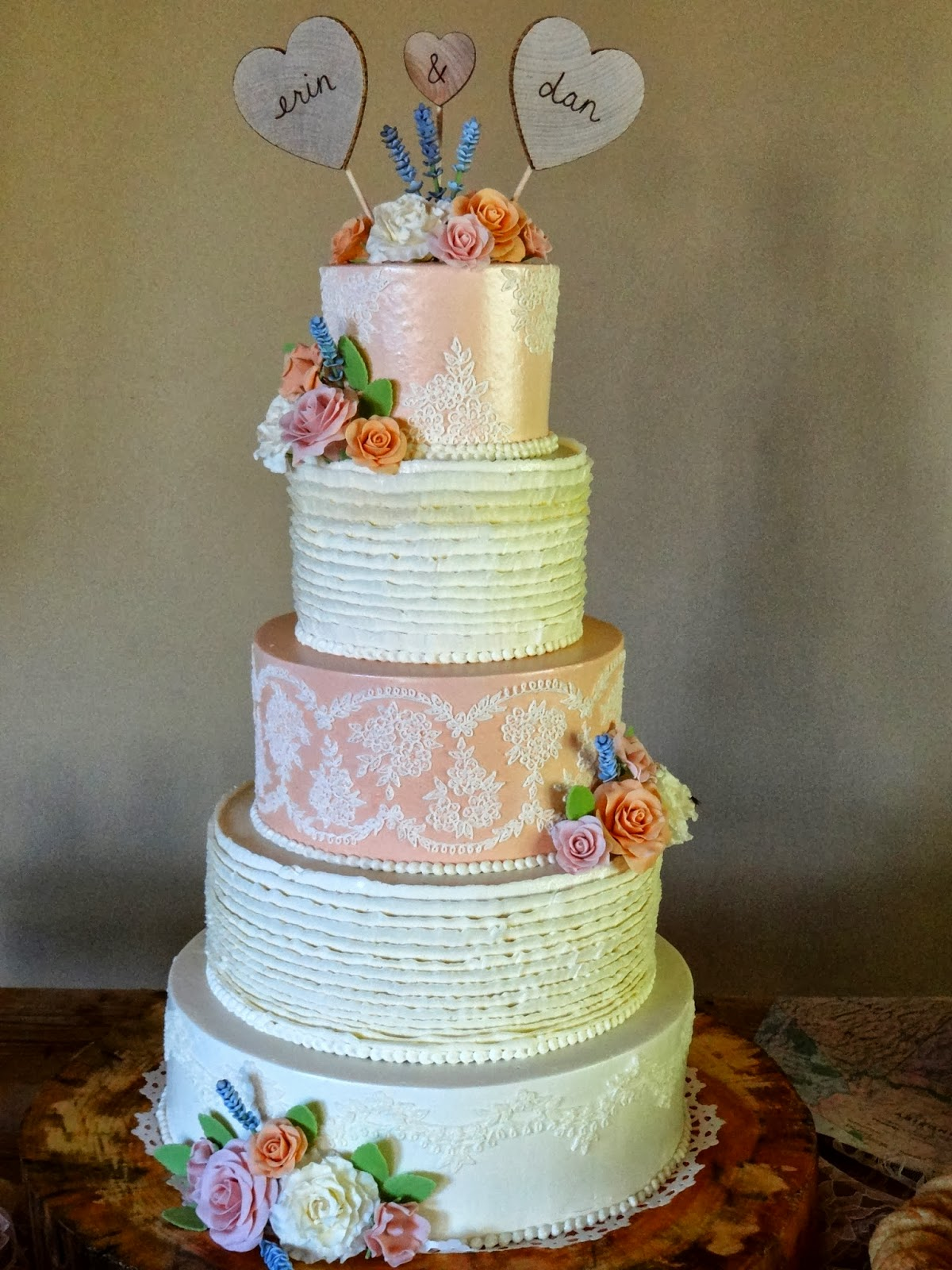 Tiers of Joy Cakery Peach & Ivory Lace Wedding Cake with