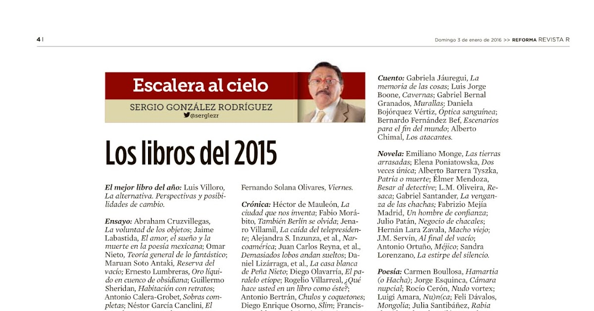 """Los mejores libros de 2015 - Revista """"R"""" del periódico Reforma ..."""