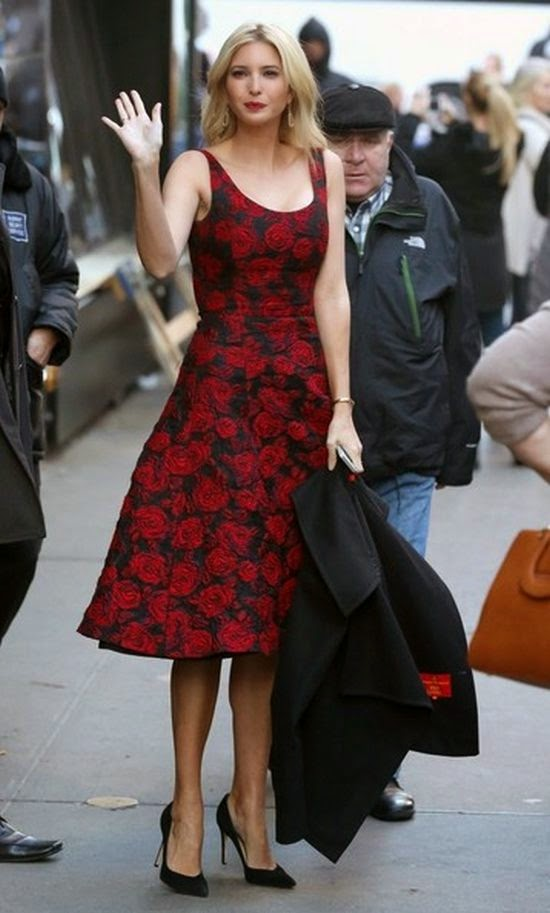 Ivanka Trump made a visit at Good Morning America on Wednesday, December 17, 2014.  Dressed up in a red long dress, the 33-year-old is seen couldn't hide her sweetest smile while explaining about her new big business idea for many modern woman in the world such her by editorially: 'Woman Who Work.'