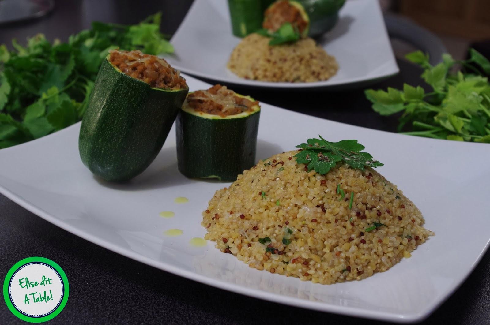 Quinoa et courgettes farcies à la libanaise