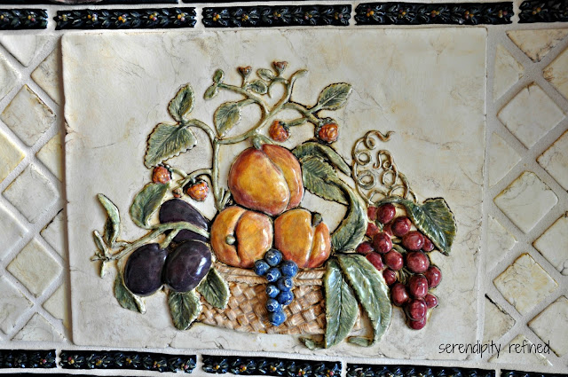 Kitchen back splash ceramic  tile hand painted hand formed raku