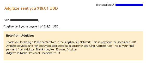 Adgitize Publisher Last Payment December 2011