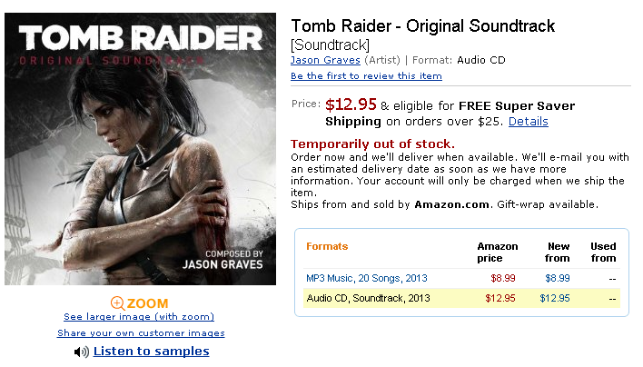 tomb raider the angel of darkness collector's edition soundtrack
