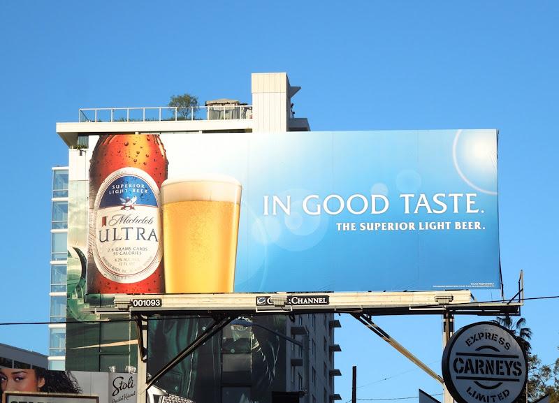 Michelob Ultra beer In Good Taste billboard