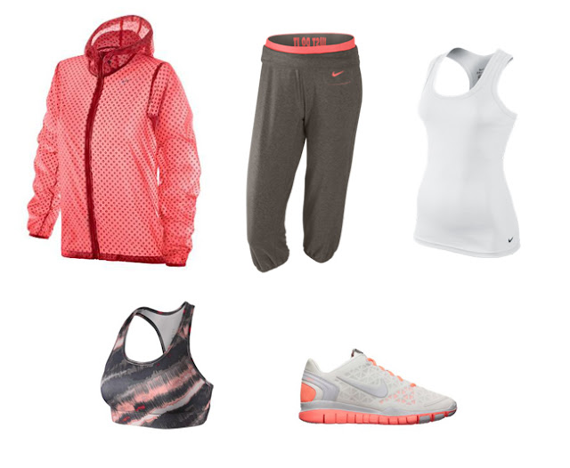 Collage ropa para ir al gimnasio de Nike en color coral, blanco y gris.