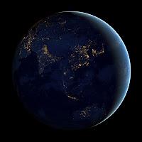 Азия и Австралия ночью из космоса