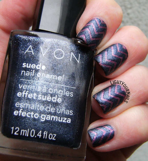 Blue and purple Avon suede chevron