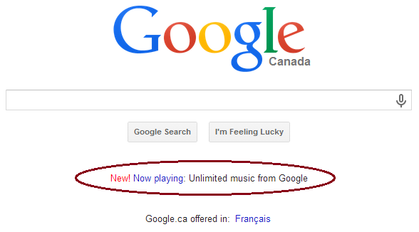 New! Now playing: Unlimited music from Google