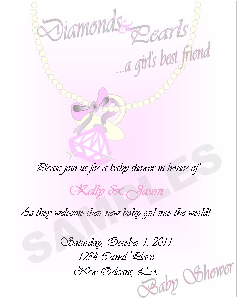 Diamonds And Pearls Baby Shower Invitations