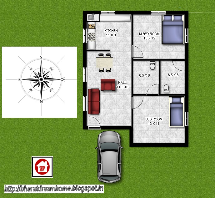 Bharat dream home 2 bedroom floorplan 800 facing for 2 bhk house plans south indian style
