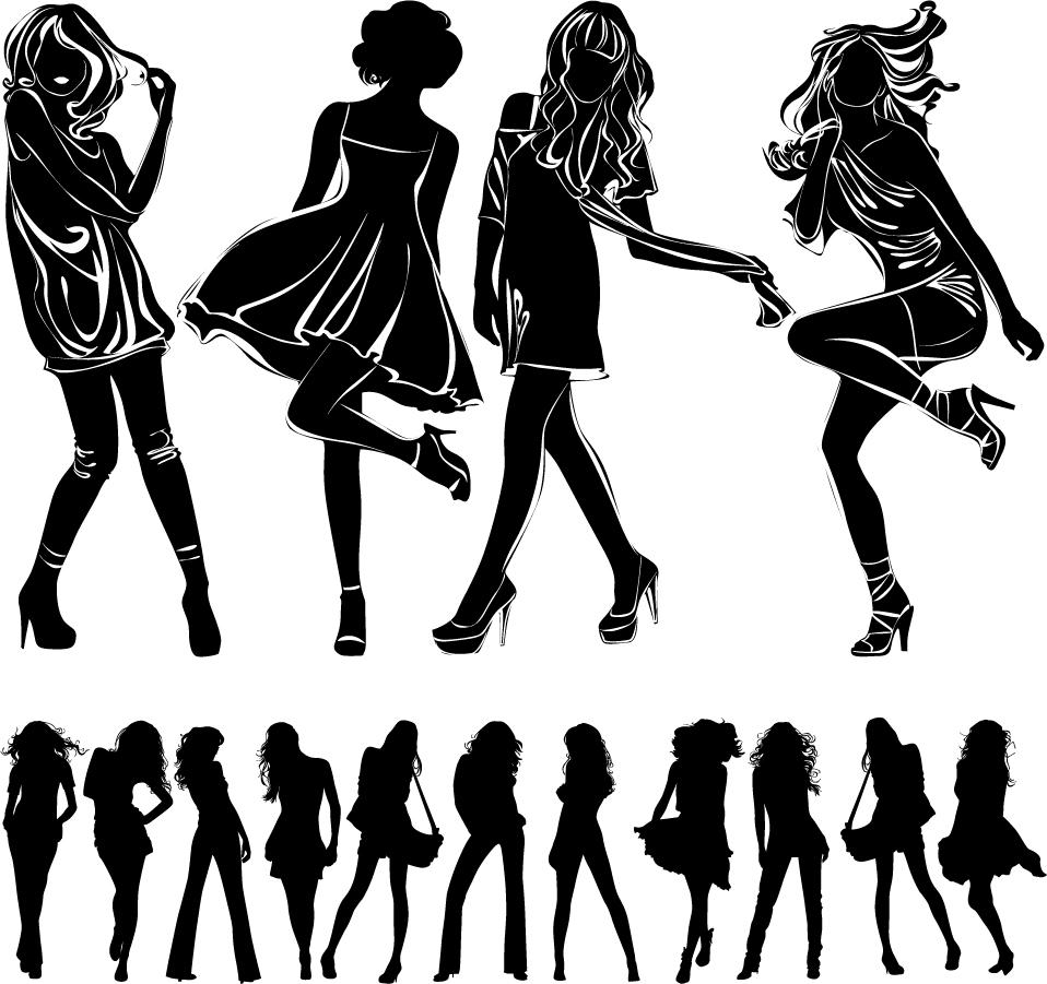 お洒落なポーズを取る女性のシルエット modern beautiful girl silhouettes イラスト素材