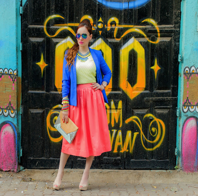Cobalt Blue Blazer, Yellow Top & Orange Midi Skirt, Vero Moda, Color blocking