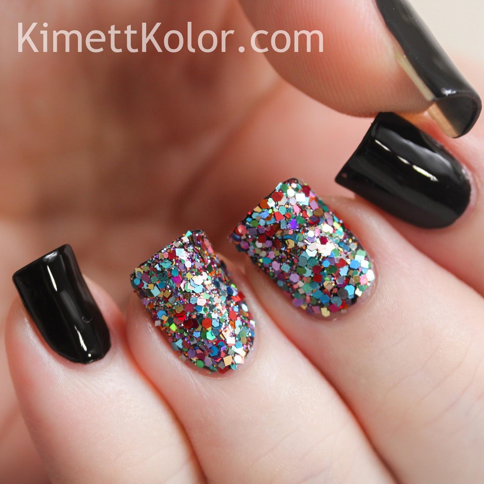 Glitter Covered Nailswith Stamping Kimett Kolor