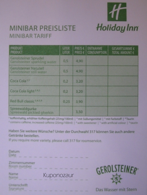 Holiday Inn Berlin Centre Alexanderplatz ceny w minibarze
