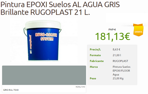 Protege y decora oferta pintura epoxi suelos al agua 2 for Pintura epoxi suelos precio